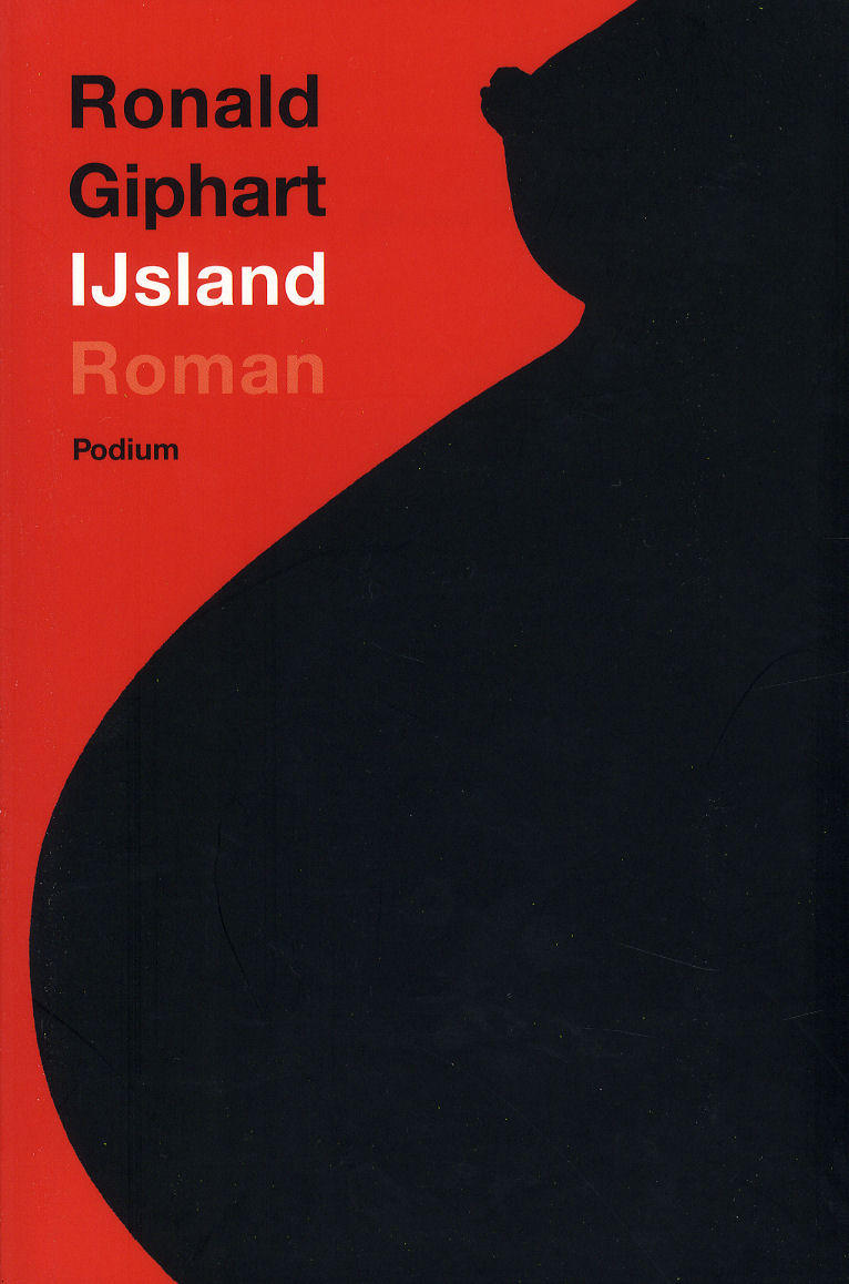 Cover IJsland, black bust silhouette of a nude pregnant woman, red background