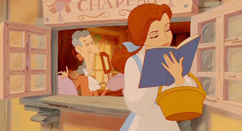 'Look there she goes that girl is so peculiar. I wonder if she's feeling well. With a dreamy far off look, and her nose stuck in a book, what a puzzle to the rest of us, is Belle!'