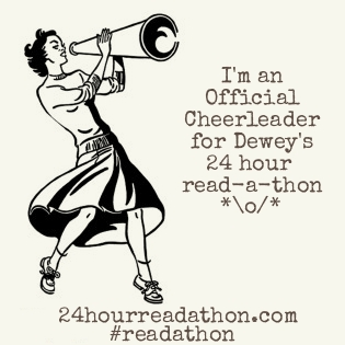 Dewey's read-a-thon official cheerleader badge alteration with the text GO READ!!1!